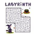 Square labyrinth with witch and cauldron on white background. Children maze. Game for kids. Children puzzle for halloween. Help th Royalty Free Stock Photo
