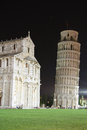 Square of miracles in pisa italy at night aka piazza del duomo or cathedral tuscany with the medieval cathderal santa maria Royalty Free Stock Photos