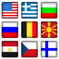 Square national flag buttons Stock Photo
