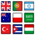 Square national flag buttons 4 Royalty Free Stock Images