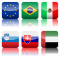 Square national flags icon set Royalty Free Stock Image