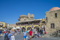 The square in the old town of rhodes photo is shot when we were on vacation greece september Stock Photography