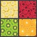 Square panels of four fresh colorful fruits vector illustration orange slices kiwifruit slices banana slices and raspberries Royalty Free Stock Photography