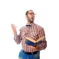 Square photo of nerd in glasses singing songs from the book Royalty Free Stock Photo