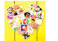 Square pictures of different types of ice cream photo collage made delicious displayed in heart shape on a yellow wooden wall Stock Images