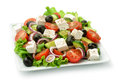Square plate of greek salad