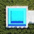 Square pool. top view 3d rendering Royalty Free Stock Photo