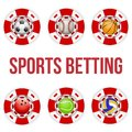 Square red casino chips of soccer sports betting tote symbol with ball bright bookmaker icon gambling excitement vector Royalty Free Stock Photos