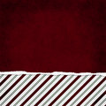 Square red green and white candy cane stripe torn grunge textur textured background with copy space at top Royalty Free Stock Image
