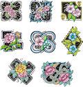 Square and rhombus shaped flower decorations set of ornamental colorful ornate vector illustrations Stock Photo