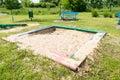 Square sandbox wooden at a park Stock Photo