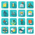 Square school icons set of flat educational of different subjects and concepts Royalty Free Stock Photos