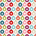 Seamless Pattern Graphic Christmas Balls Different Icons Color