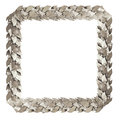 Square silver frame branches of laurel and leaves are the symbol the victories and achievements Stock Image