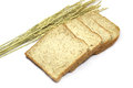 Square slice of fresh whole grain meal bread. Detailed bread texture with ears Royalty Free Stock Photo