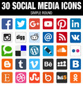 Square social media icons collection with rounded corners Royalty Free Stock Photo