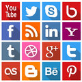 Square social media icons a set of popular for use in print and web projects include pinterest youtube google plus twitter Royalty Free Stock Photo