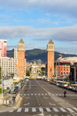 Square of spain with venetian towers barcelona Stock Photos