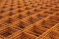 Square steel grid rebar at construction site Stock Photo