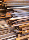 Square steel pipe rusty on the construction site Stock Image