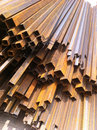 Square steel pipe rusty on the construction site Stock Images