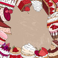 Square template with different desserts.