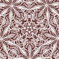 A square tile with floral elements, monochrome drawing Royalty Free Stock Photo