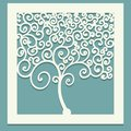 Square tree with curls. Decorative panel for cutting paper cards, design elements, scrapbooking and other. Laser cut. Vector