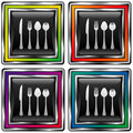 Square vector button with utensils icon Stock Photography