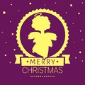 A square vector christmas image with an angel silhouette. Merry christmas lettering for holiday design. Christmas icon in gold and Royalty Free Stock Photo