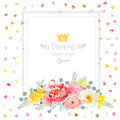 Square vector design frame with bouquet of wild rose, ranunculus, daffodil, narcissus, carnation and eucaliptus leaves.