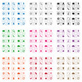 Square web icons set of flat design in various colors Stock Images