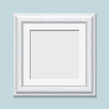 Square wooden white photo frame, vector Royalty Free Stock Photo