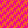 Square zigzag houndstooth variation of the pattern with a in trendy pink and orange Royalty Free Stock Image
