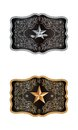 Squared buckle on white backgournd with lone star of texas Royalty Free Stock Image