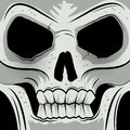 Squared faced angry skull vector illustration Stock Image
