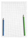 Squared paper and two pencil Royalty Free Stock Photos