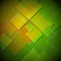Squares abstract background green yellow and orange with shapes Stock Photos