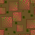 Squares pattern with rectangles red brown green