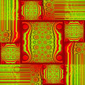 Squares and rectangles pattern with circles and stripes red bright green shifted