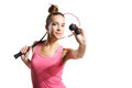 Squash beautiful athletic woman with racket Royalty Free Stock Photos