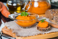 Squash puree squash caviar in a glass bowl on black table Royalty Free Stock Image