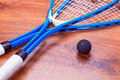 Squash rackets and ball close up of a Royalty Free Stock Images