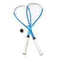 Squash rackets over white and ball Royalty Free Stock Photos