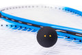 Squash rackets over white and ball Stock Photography