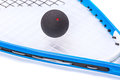 Squash rackets over white and ball Royalty Free Stock Image