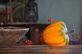 Squash still life an orange in a rustic by a window Stock Photo