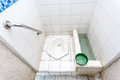 Squat toilet used white longest motorway in thailand Royalty Free Stock Image