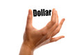 Squeezing the dollar horizontal shot of two fingers word money between two fingers isolated on white Stock Photography