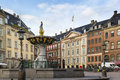 Squere in copenhagen square with fountains the center denmark Stock Photos